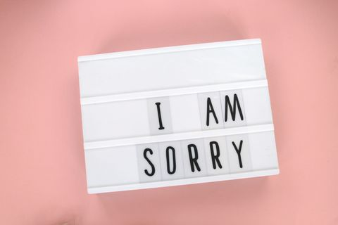 """""""i am sorry"""" message in light box"""