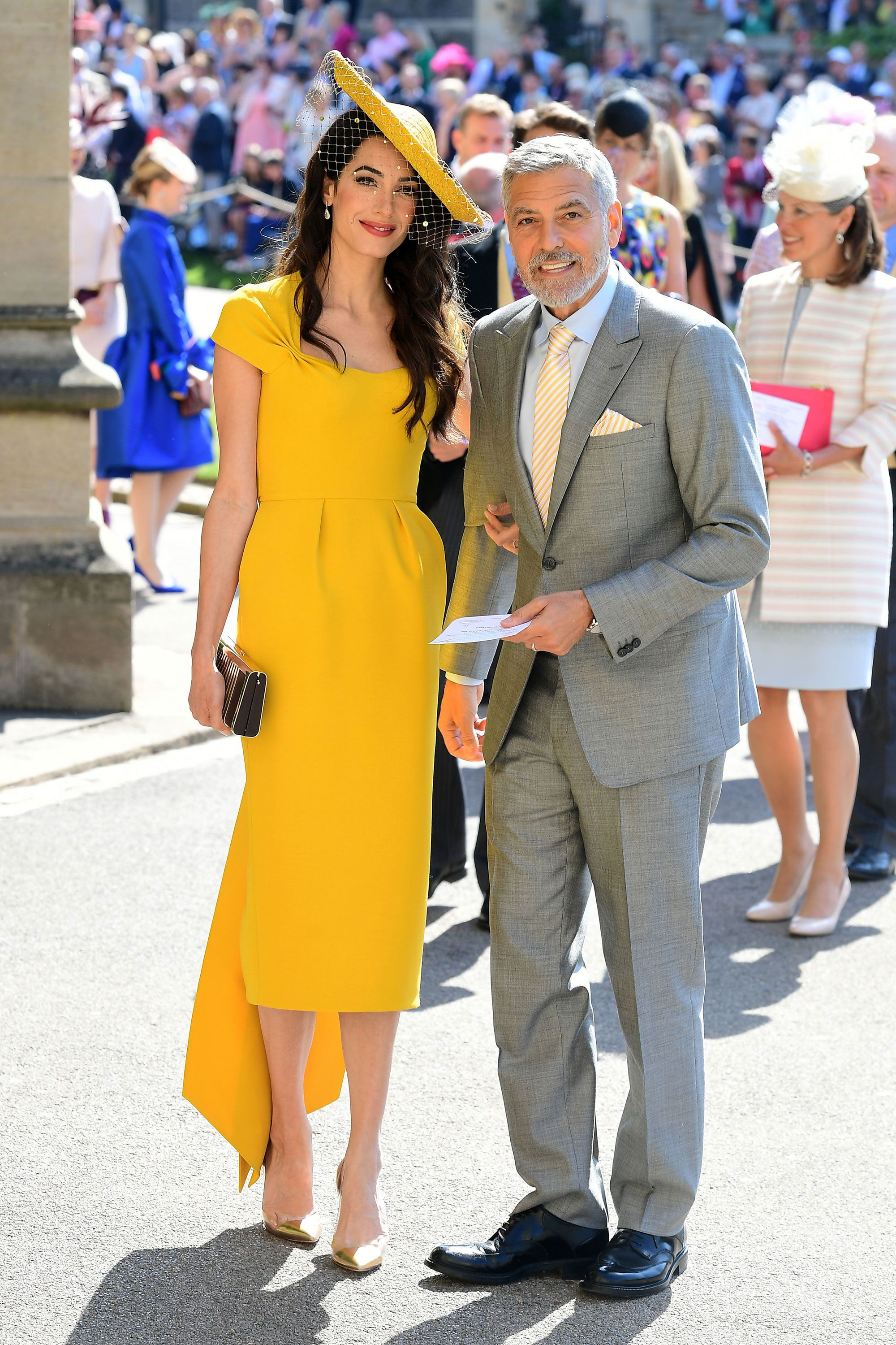 Amal Clooney Looks Beautiful In Yellow For The Royal Wedding Amal