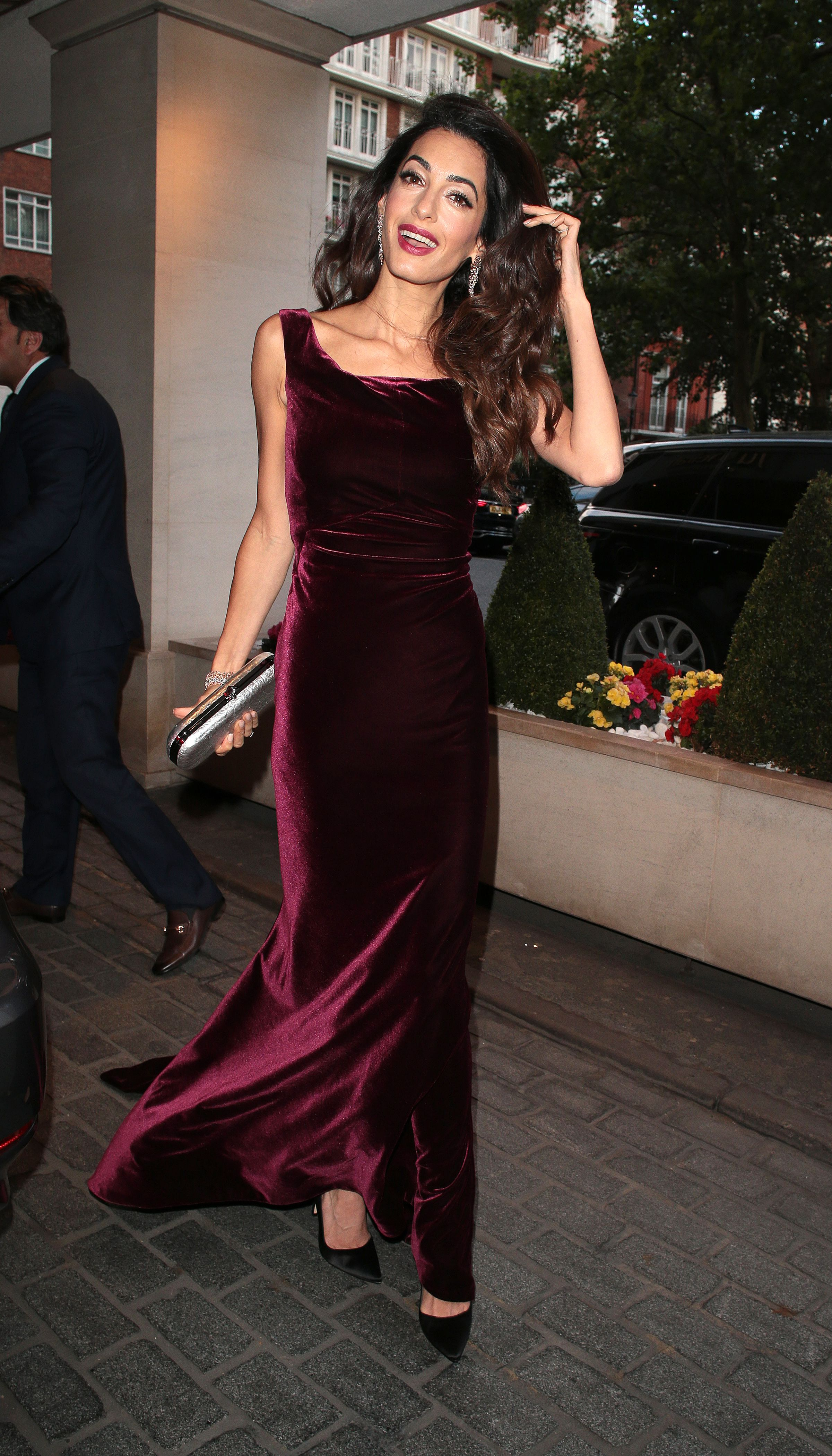 June 16, 2018 In a burgundy velvet gown at the WAAAUB UK Chapter Gala Dinner in London.