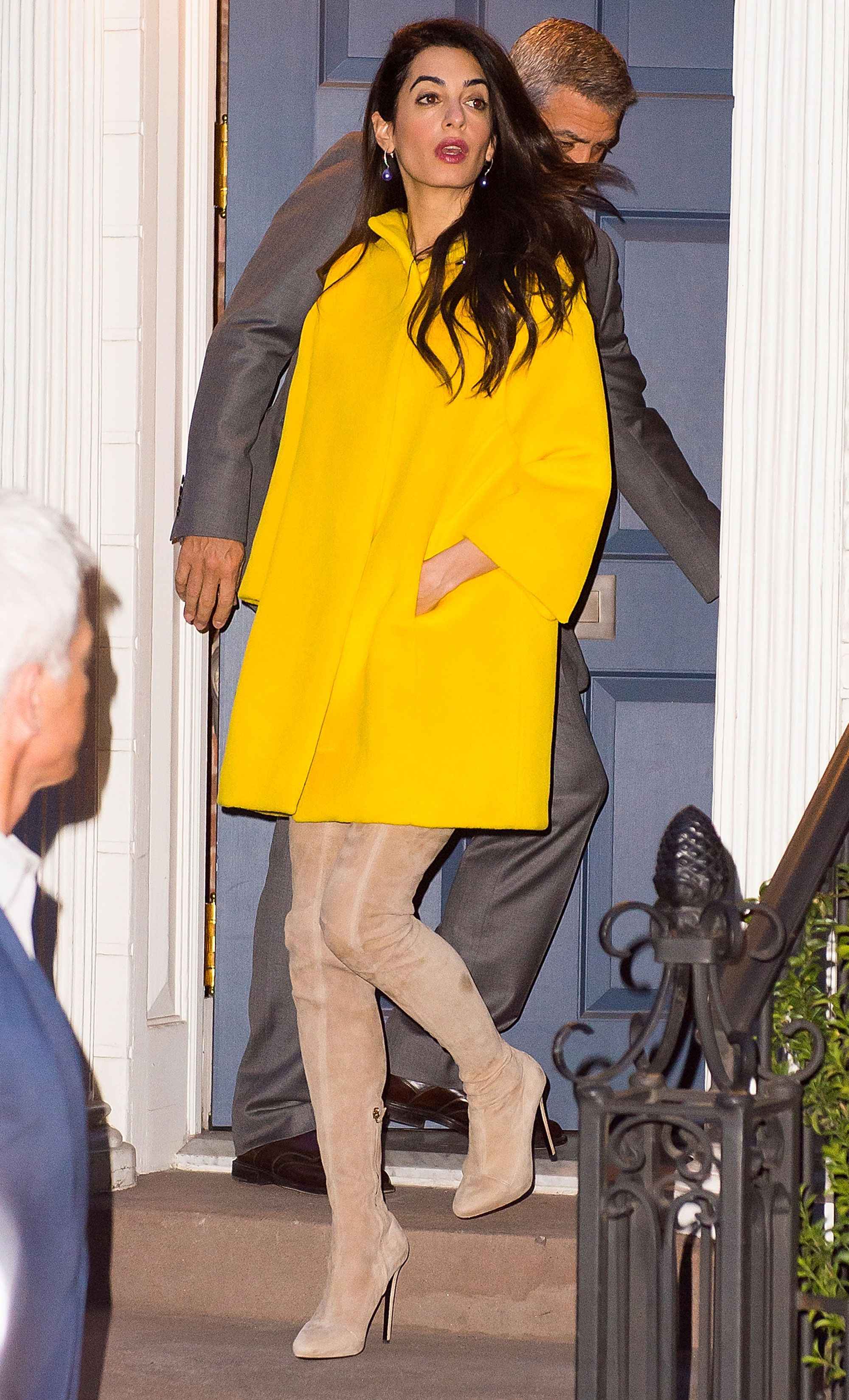 Amal Clooney wearing thigh-high boots