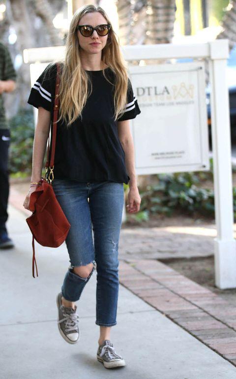 Clothing, Jeans, White, Street fashion, Shoulder, Footwear, Denim, Snapshot, Fashion, Brown,