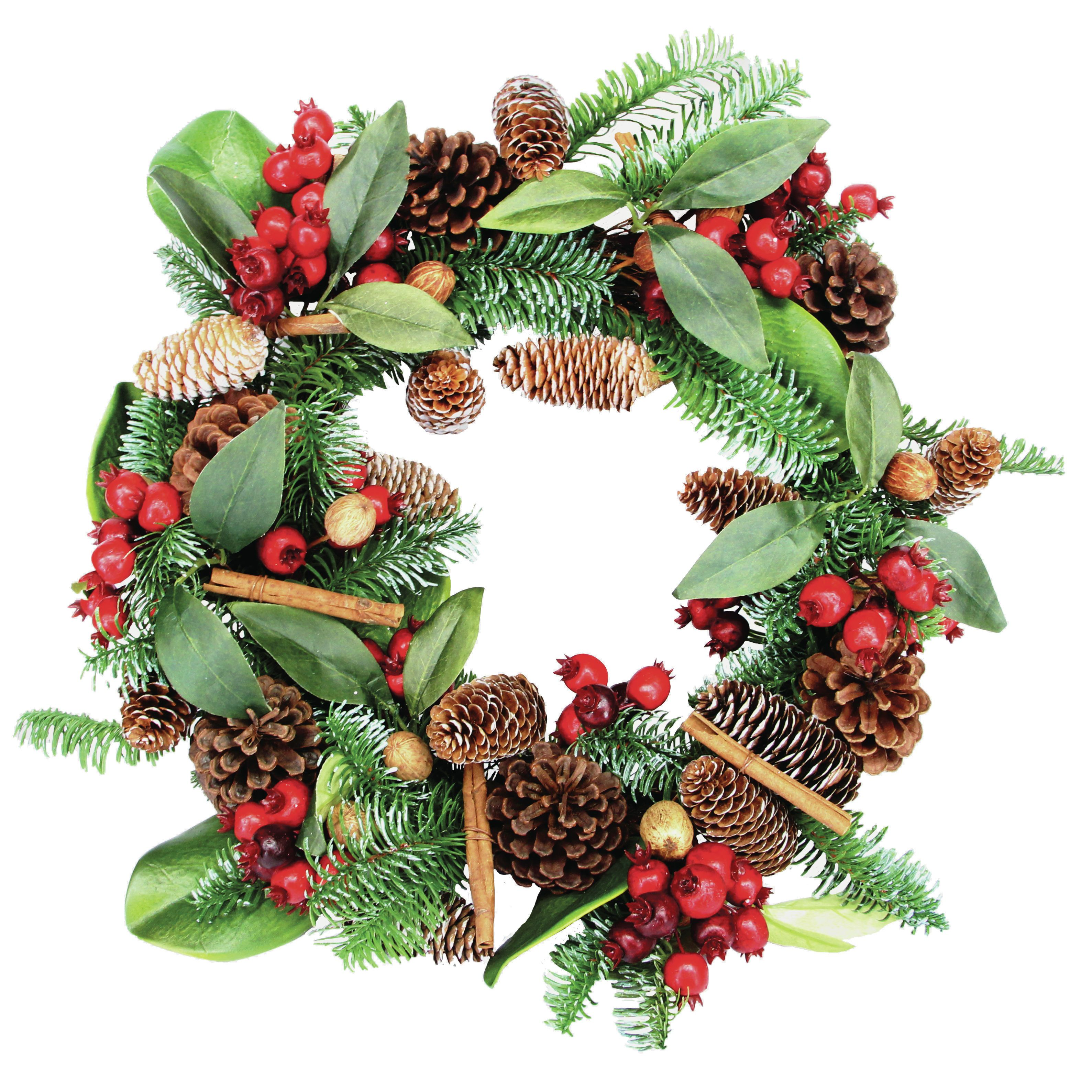 Gisela Graham - Winter Bloom Red Berry and Cinnamon Wreath - Christmas Wreath