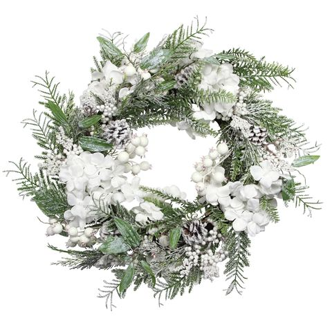 white snowy flower wreath christmas wreath