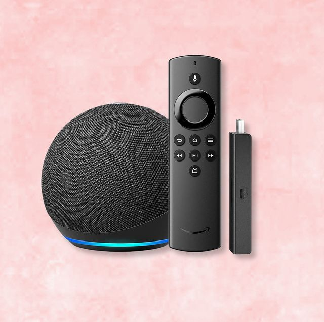 amazon echo dot and fire stick with pink background