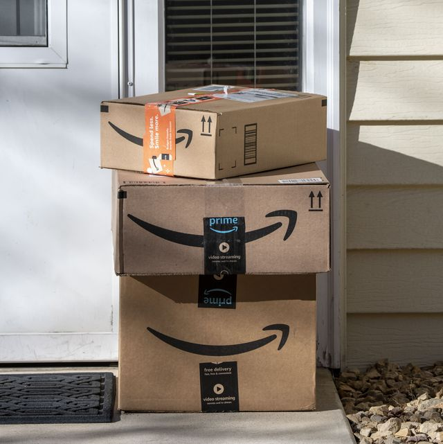amazon delivery packages at residential door