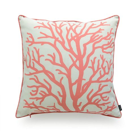 Throw pillow, Pillow, Cushion, Pink, Furniture, Orange, Aqua, Leaf, Textile, Linens,