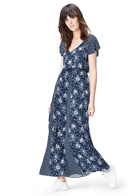 Clothing, Dress, Day dress, Sleeve, Gown, Waist, Neck, Pattern, Shoulder, Fashion model,