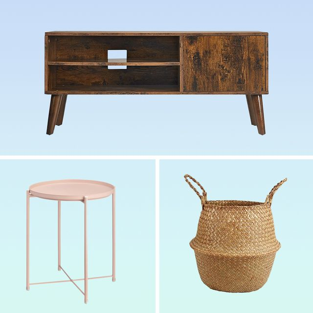 tv stand, candle, standing lamp, pouf, chair, basket, side table
