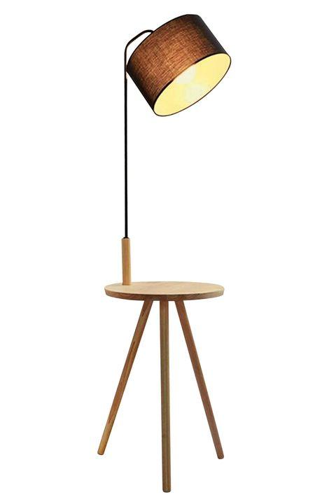 Lámpara de pie con mesita auxiliar