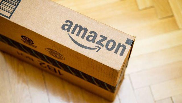 amazon logotype printed on cardboard box
