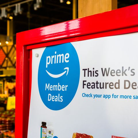 amazon prime members offer in front of the whole foods stores