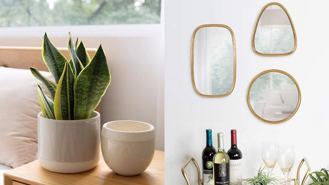 ceramic planters next to bed, three mirrors over bar cart