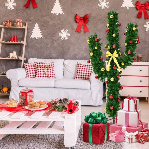 Decoration, Christmas decoration, Christmas tree, Red, Room, Living room, Interior design, Christmas, Furniture, Tree,