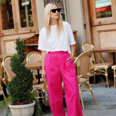 Clothing, White, Waist, Pink, Street fashion, Shoulder, Leg, Fashion, Abdomen, Yellow,