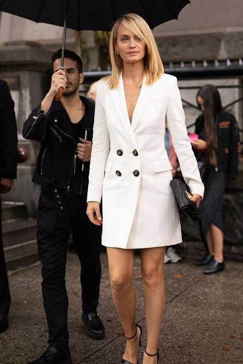 Clothing, White, Street fashion, Fashion, Fashion model, Outerwear, Snapshot, Coat, Suit, Footwear,