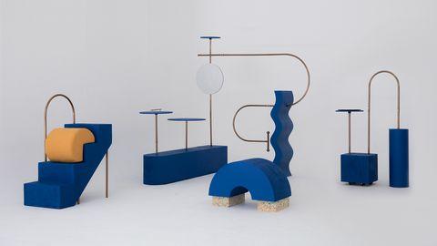 Blue, Product, Design, Furniture, Table, Room, Architecture, Art, Interior design, Sculpture,
