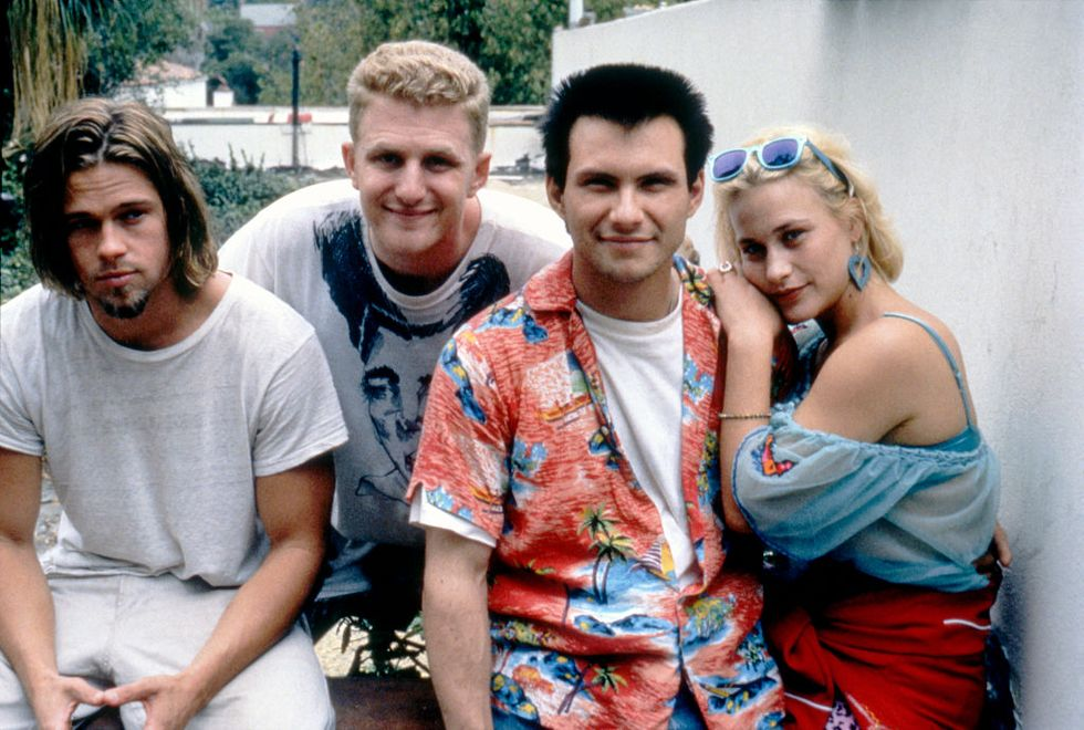 True Romance (1993) Brad Pitt, Michael Rapaport, Christian Slater, and Patricia Arquette hang out on the set of True Romance . Pitt's stoner character was reportedly the inspiration behind Pineapple Express in 2008.