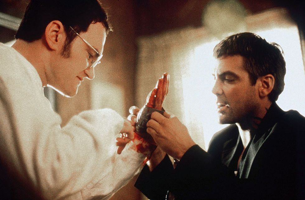 From Dusk Till Dawn (1996) Clooney wraps up Tarantino's hand in a scene for From Dusk Till Dawn. The film was followed by two direct-to-video prequels: From Dusk Till Dawn 2: Texas Blood Money and From Dusk Till Dawn 3: The Hangman's Daughter .