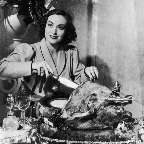 joan crawford carves turkey