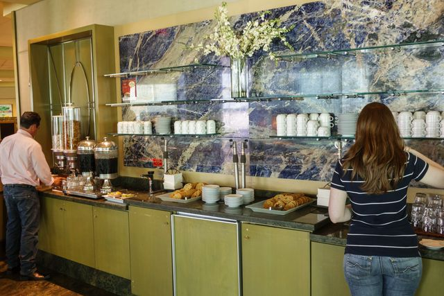 american airlines admirals club lounge, buffet line in miami's international airport
