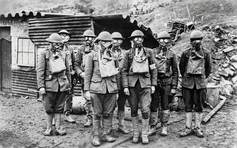 American Soldiers Wearing Gas Masks