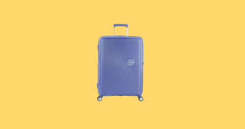 Suitcase, Yellow, Hand luggage, Luggage and bags, Baggage, Bag, Font, Electric blue, Travel,