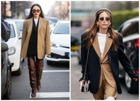 Clothing, Street fashion, Fashion, Outerwear, Blazer, Jacket, Jeans, Footwear, Leather, Suit,