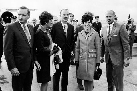 America's three Apollo 11 astronauts seen here shortly after their arrival at Heathrow Airport with their wives. Left to