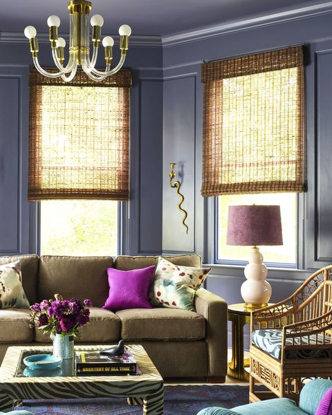 Living room, Room, Furniture, Interior design, Purple, Property, Couch, Window covering, Yellow, Home,