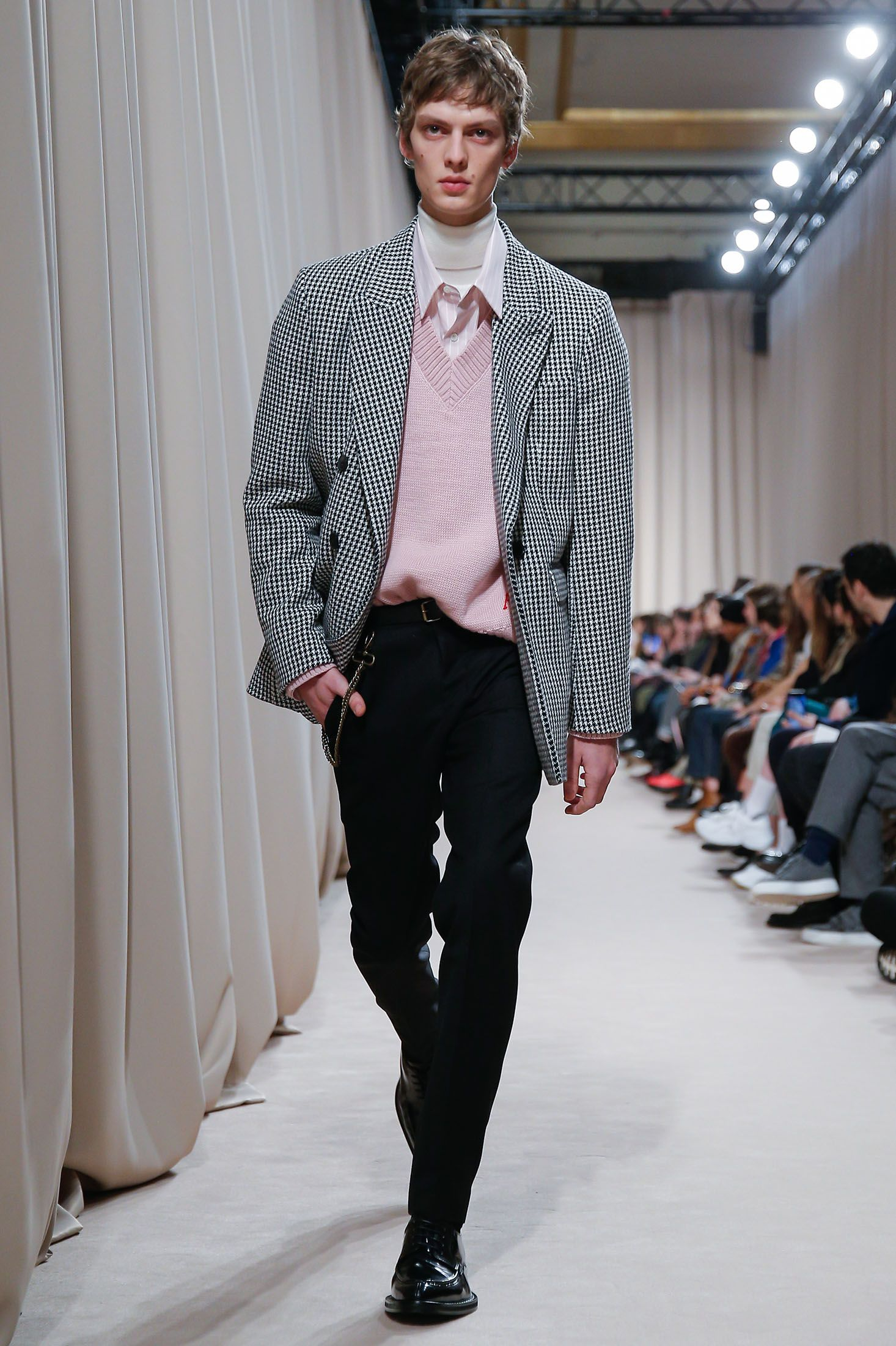 A pink V-neck sweater is one of the standouts in AMI's Fall 19 lineup.