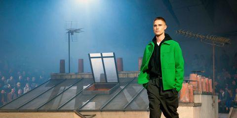 Green, Standing, Suit, Jacket,