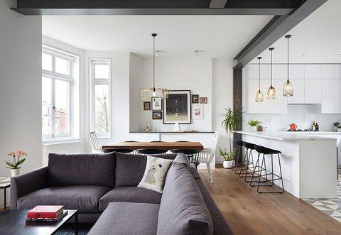 Room, Interior design, Furniture, Living room, Ceiling, White, Property, Building, Floor, House,