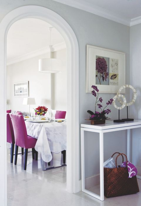 Furniture, White, Room, Property, Interior design, Purple, Pink, Violet, Table, Floor,