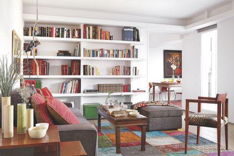 Room, Wood, Interior design, Furniture, Table, Living room, Shelving, Interior design, Home, Shelf,