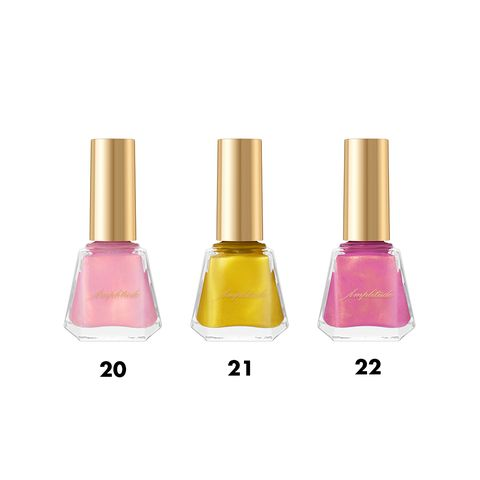 Nail polish, Cosmetics, Nail care, Pink, Product, Yellow, Glass bottle, Magenta, Beauty, Bottle,
