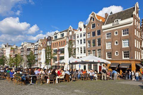 Amsterdam, Terrace on Torensluis bridge
