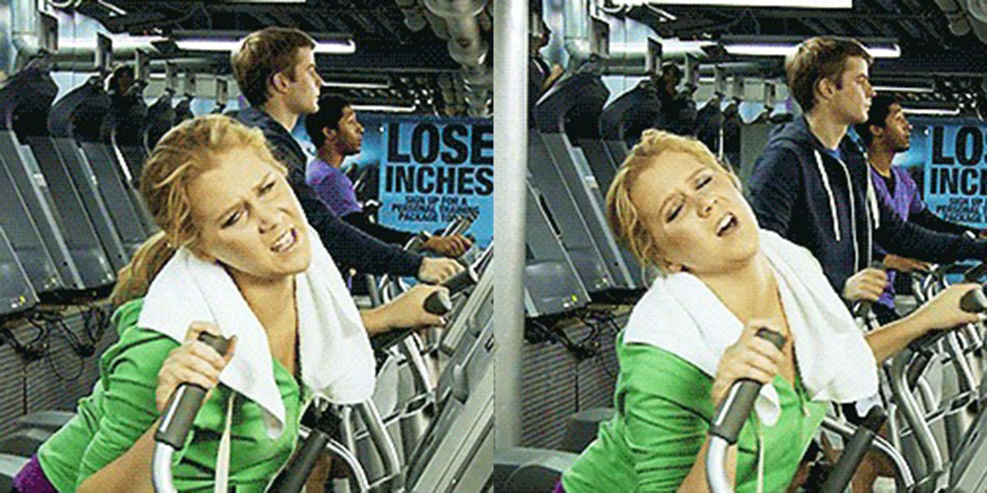 Amy Schumer, gym, exercise, pain, tired, lazy, injury
