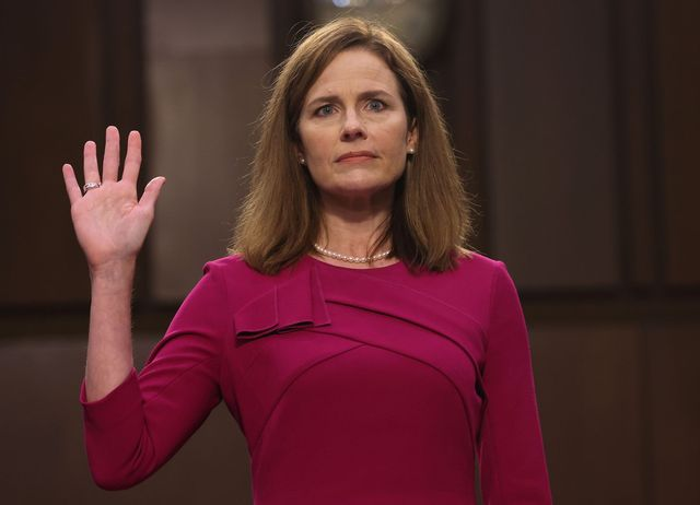 supreme court nominee judge amy coney barrett is sworn into her senate judiciary committee confirmation hearing on capitol hill on october 12, 2020 in washington, dc photo by win mcnamee  pool  afp photo by win mcnameepoolafp via getty images