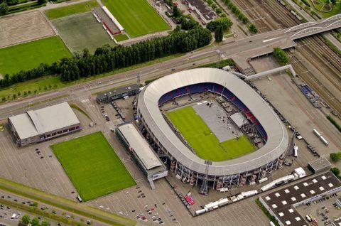 aerial view of feijenoord stadion, de kuip, rotterdam