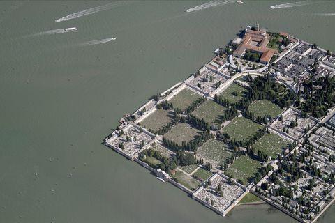 Aerial View Of San Michele Cementery, Venezia