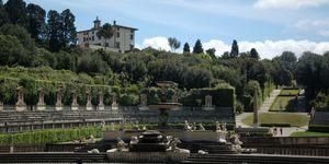 An afar view of the Boboli Gardens