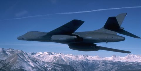 B-1 Bomber Over Mountains