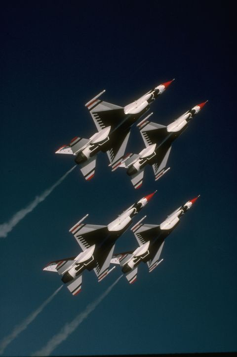 F-16 Falcons Flying in Formation