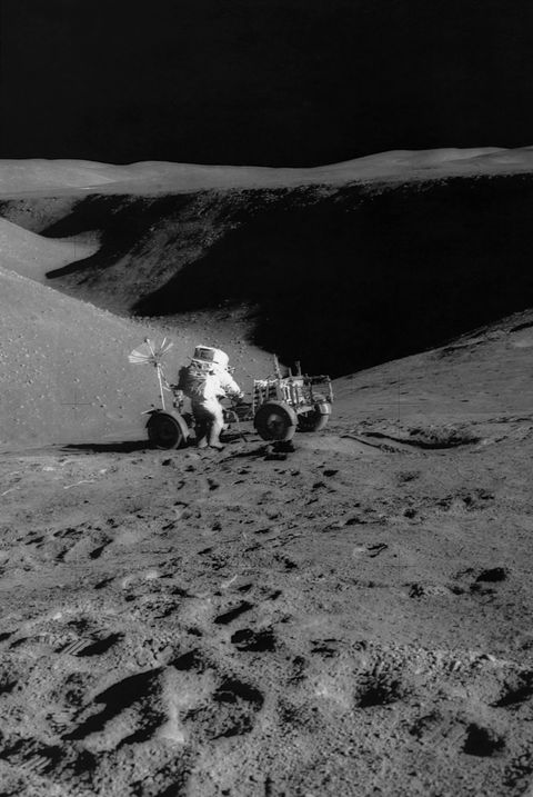 Apollo 15 Astronaut with Lunar Vehicle on Moon
