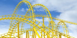 An awesome complex yellow rollercoaster against a blue sky
