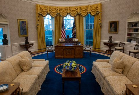 an early preview of the redesigned oval office awaiting president joseph biden at the white house, on january 20 in washington, dc