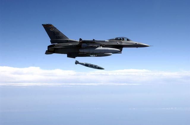 f 16 drops  joint direct attack munition during test mission