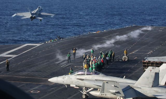 us navy conducts carrier qualification training aboard the uss nimitz