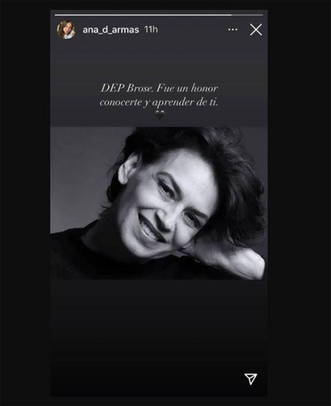 ana de armas lanza un emotivo mensaje tras el fallecimiento de una de sus compañeras ha despedido a la actriz cubana broselianda hernández, que ha muerto a los 56 años