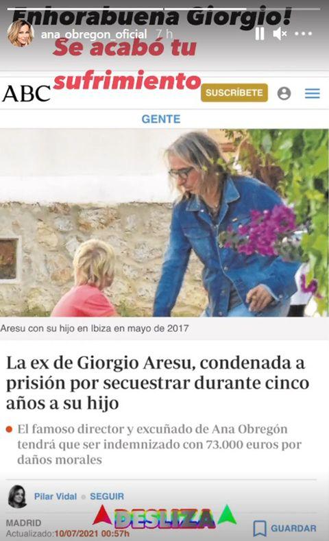 ana obregón felicita a su excuñado giorgio aresu